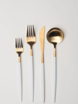 Brushed Gold Dipped White Flatware