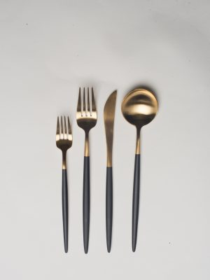 Brushed Gold Dipped Matte Black Flatware
