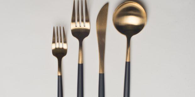 Brushed Gold Dipped Matte Black Flatware