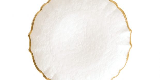 Baroque Glass Salad Plate in Pearl White