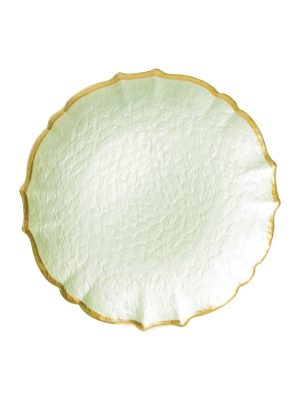 Baroque Glass Salad Plate in Pistachio